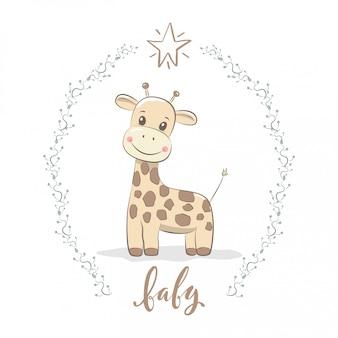 Linda jirafa para bebé y tarjeta de invitación