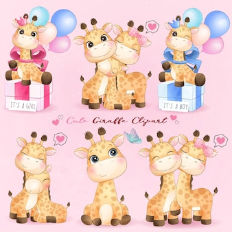Linda jirafa con conjunto de ilustración acuarela