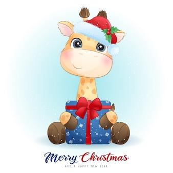 Linda jirafa para el día de navidad con ilustración acuarela
