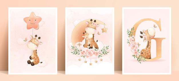 Linda jirafa doodle con ilustración de conjunto floral