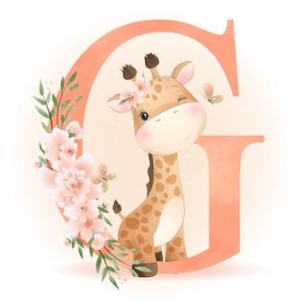 Linda jirafa doodle con ilustración floral