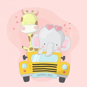 Linda jirafa y elefante en la ilustración del autobús escolar