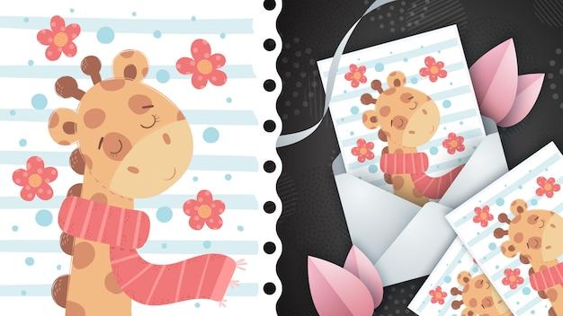 Linda jirafa - idea para tarjeta de felicitación