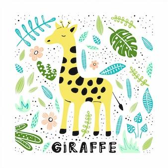 Linda jirafa con ilustraciones dibujadas a mano.