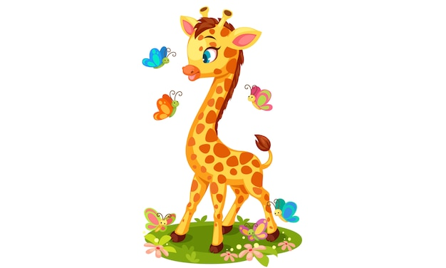 Linda jirafa jugando con mariposas