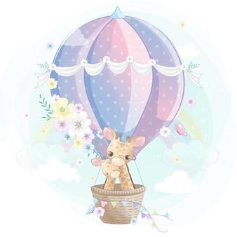 Linda jirafa madre y bebé volando con globo
