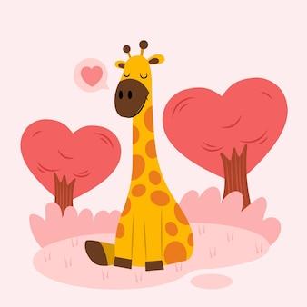 Linda jirafa en la naturaleza con corazón y árboles en forma de corazón