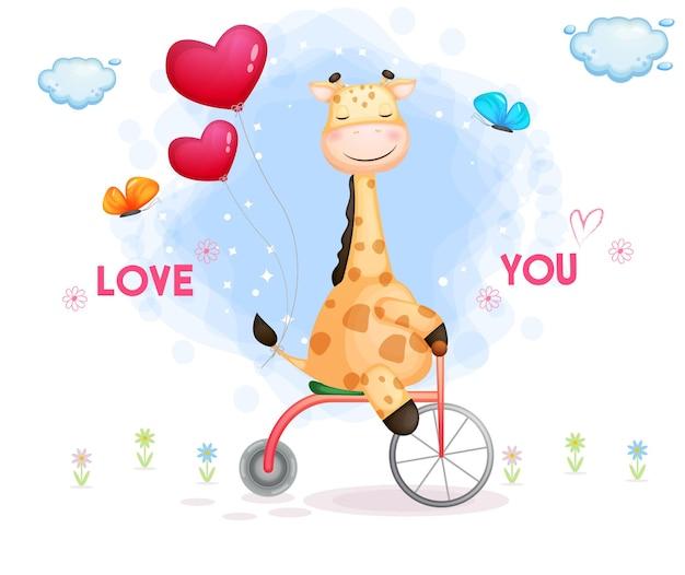 Linda jirafa de san valentín conduciendo triciclo