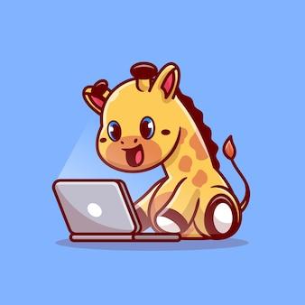 Linda jirafa trabajando en portátil