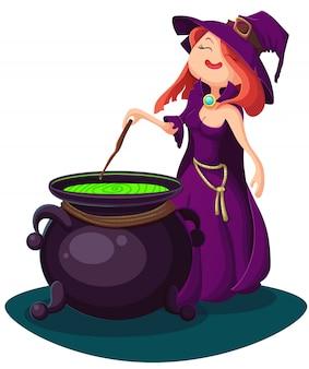 Linda joven bruja, ilustración de halloween