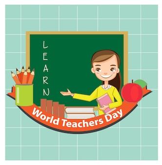 Linda joven profesor sonrisa y feliz con la enseñanza