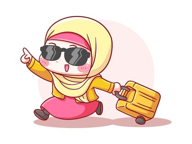 Linda y kawaii emocionado hijab niña trae maleta para vacaciones manga ilustración chibi