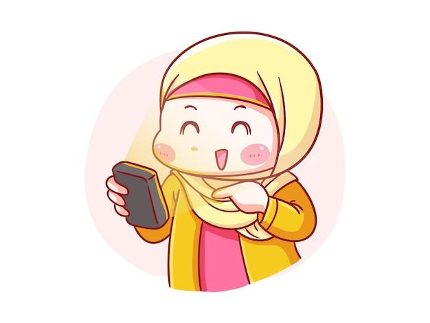 Linda y kawaii happy hijab girl mira su smartphone manga chibi ilustración