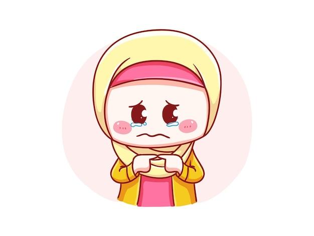 Linda y kawaii hijab girl llorando y sintiéndose culpable ilustración de chibi