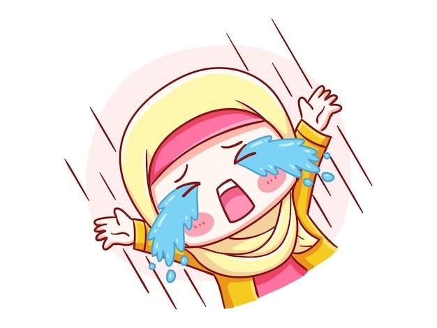 Linda y kawaii hijab girl llorando en voz alta manga chibi ilustración