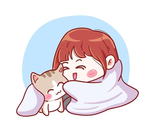 Linda y kawaii niña acurrucada con gato debajo de la manta