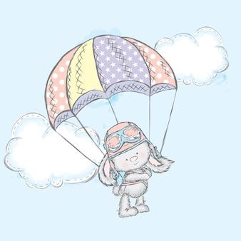 Una linda liebre vuela en paracaídas.