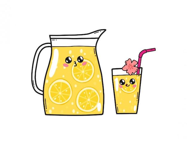 Linda limonada ambientada en el estilo kawaii de japón. personajes de dibujos animados de limón feliz con caras divertidas aisladas