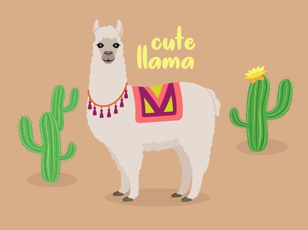Linda llama en el desierto con cactus