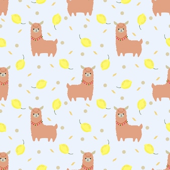 Linda llama y patrón transparente de limón de verano