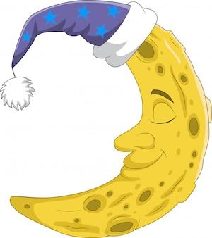 Linda luna creciente con gorro de dormir