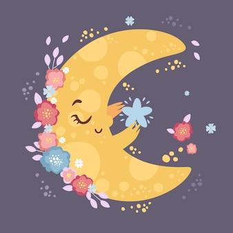 Linda luna con una estrella en flores