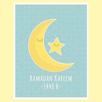 Linda luna y estrella, vector de tarjeta de felicitación de ramadan kareem