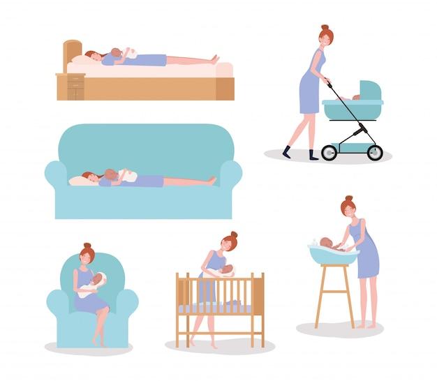 Linda madre con bebé recién nacido conjunto de actividades