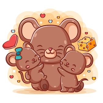Linda madre ratones abrazan a sus ratones bebé cerca del queso