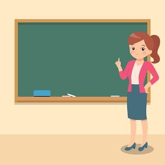 Linda maestra apuntando a la pizarra. situación del aula. plantilla de tablero en blanco para colocar texto. feliz día mundial del maestro. estilo plano