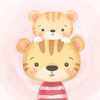 Linda mami y bebé tigre ilustración