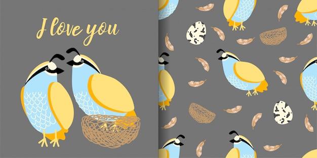 Linda mano de codorniz dibujado patrón animal sin fisuras con conjunto de tarjeta de ilustración