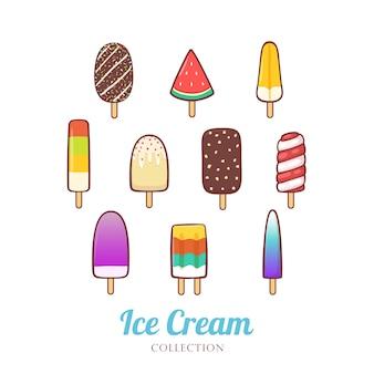 Linda mano dibujada diferente del conjunto de helado