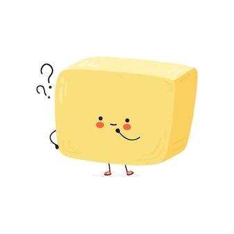 Linda mantequilla divertida con signos de interrogación