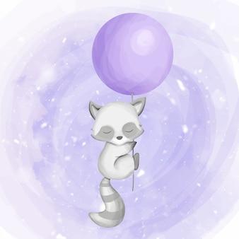 Linda mapache vuela con un globo
