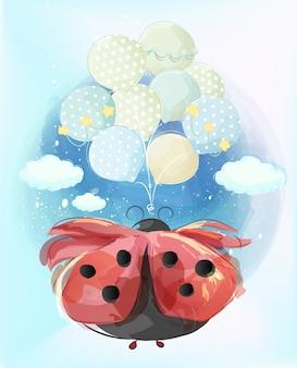 Linda mariquita está disfrutando de unos grandes globos flotando en el cielo.