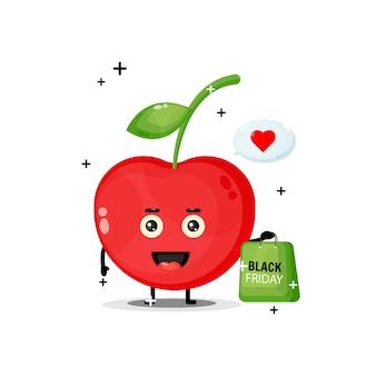 Linda mascota de cereza lleva una bolsa de compras de viernes negro
