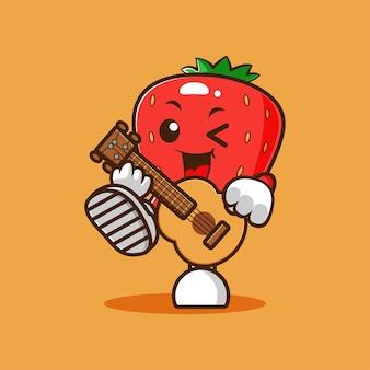 De linda mascota fresa tocando la guitarra