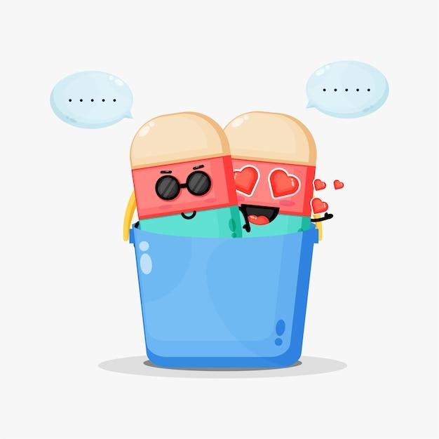 Linda mascota de helado en balde