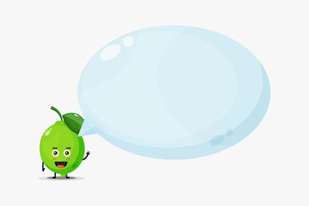 Linda mascota de limón con discurso de burbuja