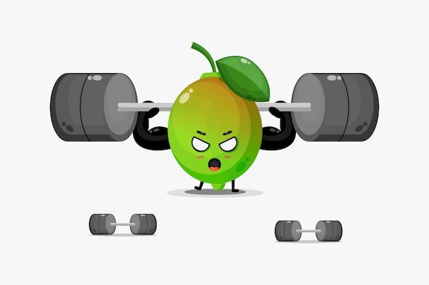Linda mascota de limón levantando una barra
