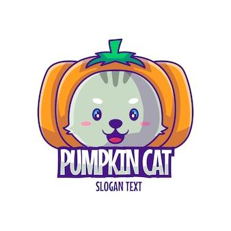 Linda mascota logo dibujos animados calabaza gato ilustración vector