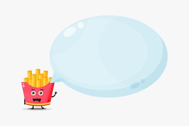 Linda mascota de papas fritas con discurso de burbuja