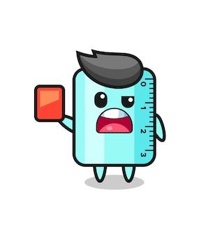 Linda mascota de regla como árbitro dando una tarjeta roja, diseño de estilo lindo para camiseta, pegatina, elemento de logotipo