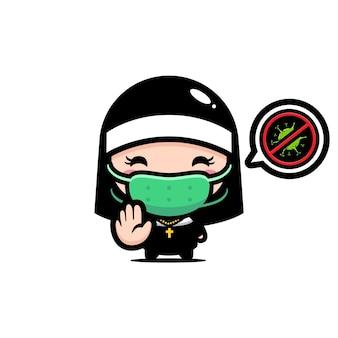 Linda monja con una máscara con pose de virus de parada