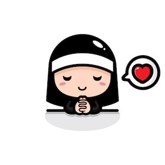 Linda monja está rezando