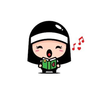 Linda monja sosteniendo el libro de música y cantando
