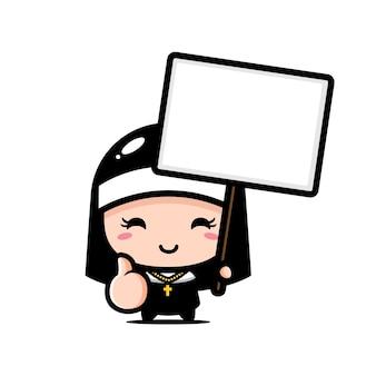 Linda monja sosteniendo un tablero de texto en blanco