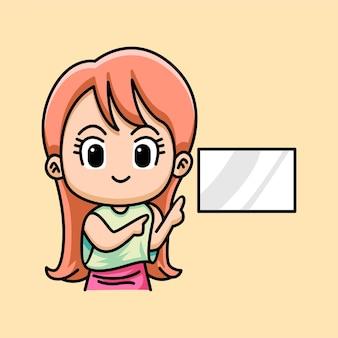Linda mujer apuntando con las manos juntas y mostrando dibujos animados de pizarra blanca