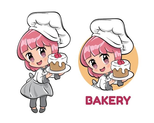 Linda mujer chef de panadería presenta tarta de chocolate frambuesa